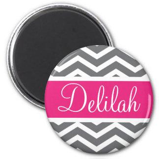 Grey Gray Pink Chevron Name Magnet