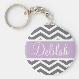 Grey Gray Purple Chevron Custom Name Key Ring