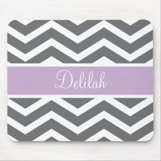 Grey Gray Purple Chevron Custom Name Mouse Pad