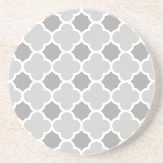 Grey Gray White Quatrefoil Pattern Coaster