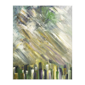 Grey Green Abstract Urban Cityscape City Sky Art Canvas Print