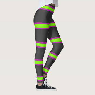 Grey,Green and Purple Striped Leggings