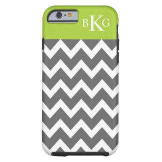 Grey Green Chevron Stripes & Monogram Tough iPhone 6 Case