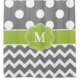 Grey Green Dot Chevron Monogram Shower Curtain