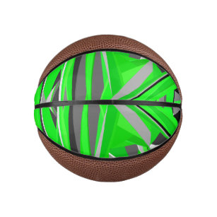 Grey-green geometry mini basketball