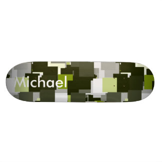 Grey Green Urban Camouflage Squares Custom Skateboard