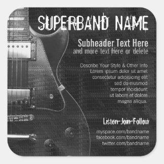 Grey Guitar Band Musician Square Promo Sticker