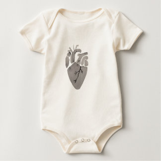 Grey Heart Baby Bodysuit
