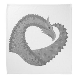 Grey heart dragon on white bandana