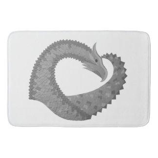 Grey heart dragon on white bath mat