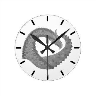 Grey heart dragon on white round clock