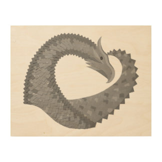 Grey heart dragon wood wall decor