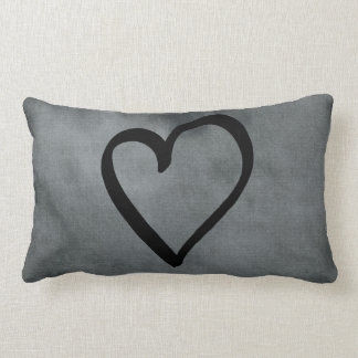 Grey Heart Lumbar Pillow