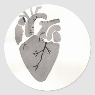 Grey Heart Round Sticker