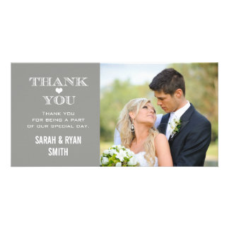 Grey Heart Wedding Photo Thank You Cards Picture Card