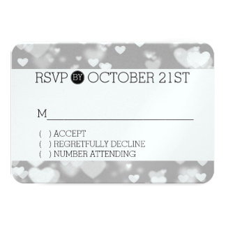 Grey Hearts Bokeh RSVP 3.5x5 Paper Invitation Card