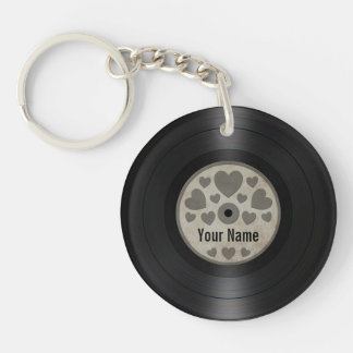 Grey Hearts Personalized Vinyl Record Album Key Ring