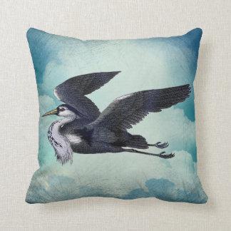 Grey Heron Against A Blue Sky Cushion