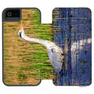 Grey heron, ardea cinerea, in a pond incipio watson™ iPhone 5 wallet case