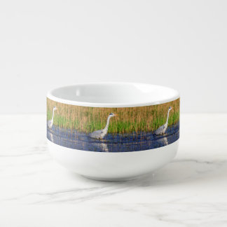 Grey heron, ardea cinerea, in a pond soup bowl with handle