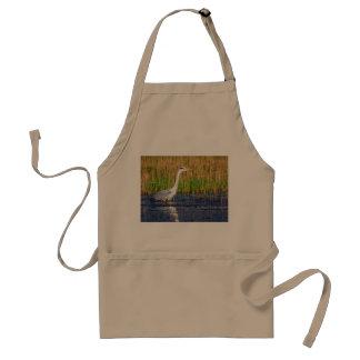 Grey heron, ardea cinerea, in a pond standard apron