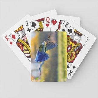 Grey heron, ardea cinerea playing cards