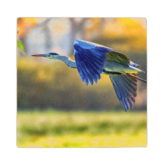 Grey heron, ardea cinerea wood coaster