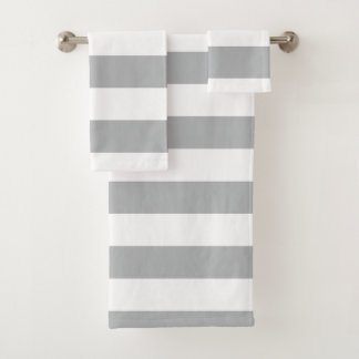 Grey Horizontal Stripes Bath Towel Set