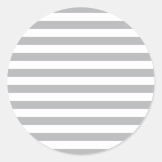 Grey Horizontal Stripes Classic Round Sticker