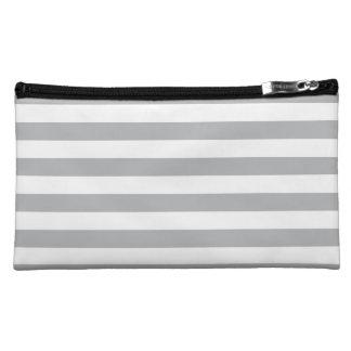 Grey Horizontal Stripes Cosmetics Bags
