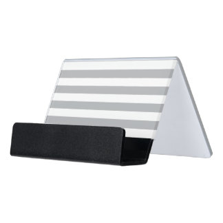Grey Horizontal Stripes Desk Business Card Holder
