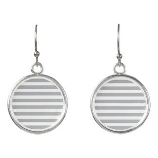 Grey Horizontal Stripes Earrings