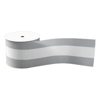 Grey Horizontal Stripes Grosgrain Ribbon