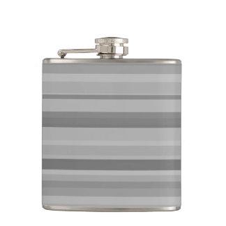 Grey horizontal stripes hip flask