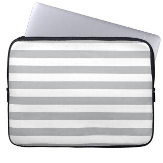 Grey Horizontal Stripes Laptop Sleeve
