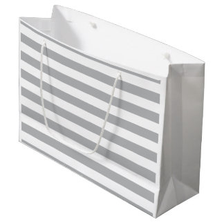 Grey Horizontal Stripes Large Gift Bag