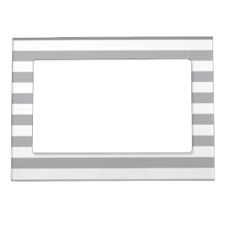 Grey Horizontal Stripes Magnetic Picture Frame
