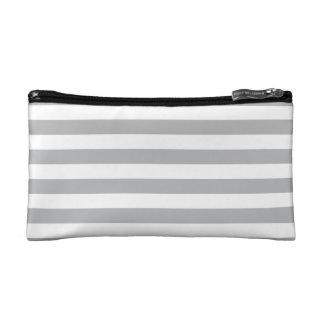 Grey Horizontal Stripes Makeup Bags