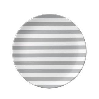 Grey Horizontal Stripes Plate