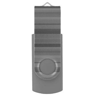 Grey horizontal stripes USB flash drive