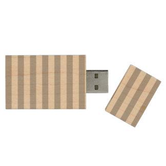 Grey Horizontal Stripes Wood USB Flash Drive
