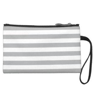 Grey Horizontal Stripes Wristlet Clutches