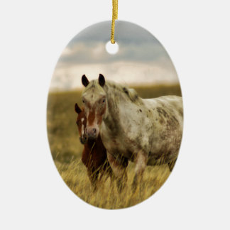 Grey Horse with Baby Ceramic Ornament