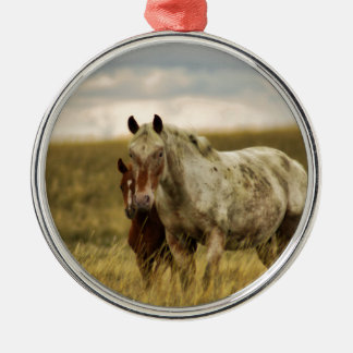 Grey Horse with Baby Metal Ornament