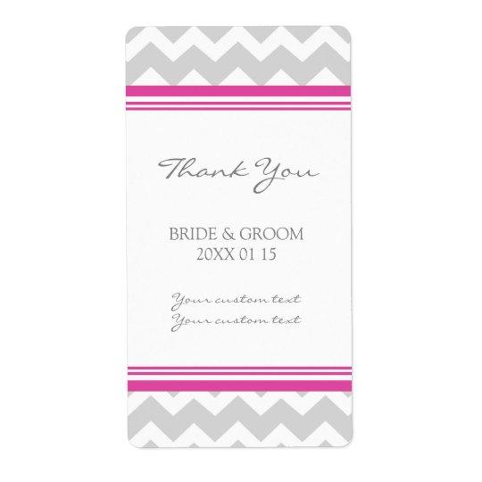 Grey Hot Pink Chevron Wedding Labels