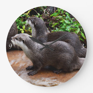 Grey Hungry Otters, Large Round Wall Clock