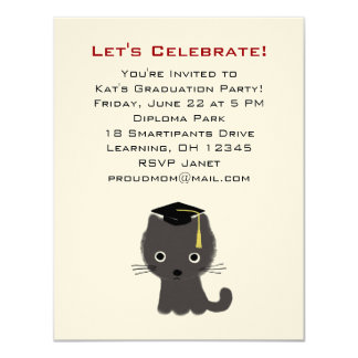 Grey Kitten Graduation Announcement