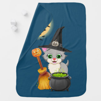 Grey Kitten Halloween Cartoon Baby Blanket