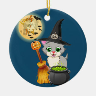 Grey Kitten Halloween Cartoon Ceramic Ornament
