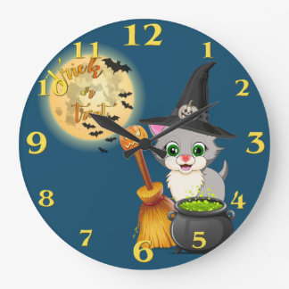 Grey Kitten Halloween Cartoon Large Clock